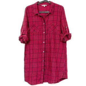 Victoria Secret Nightshirt L Womens Plaid Red